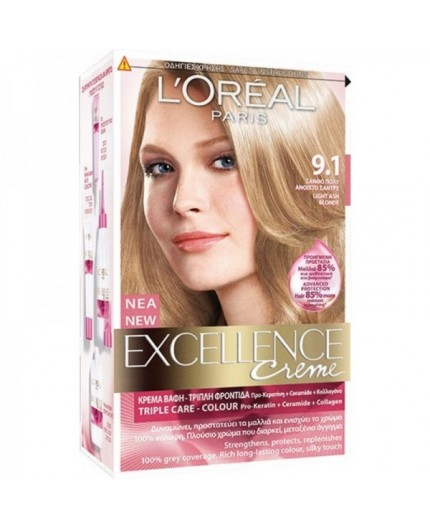 L'Oreal Excellence Creme 9.1 Ξανθό Πολύ Ανοιχτό Σαντρέ 48ml